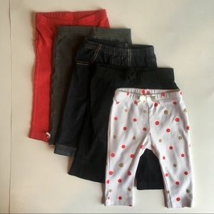 Girl pull on pants 5 PC bundle 3-6M riffle butt